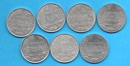 LOT 7 Pièces De 5 Francs - (années Diférentes) - Polynésie Française - French Polynesia