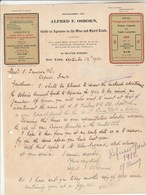 Etats Unis Facture Lettre Illustrée 12/9/1910 Alfred F OSBORN Guide To Agencies In The Wine And Spirit Trade NEW YORK - United States