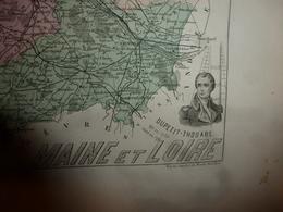 1880 MAINE Et LOIRE(Angers,Baugé,Cholet,Saumur,Segré,Doué,Candé,Durtal,etc)Carte Géo-Descriptive:Edition Migeon,géograph - Cartes Géographiques