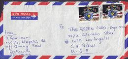 Sri Lanka Air Mail Par Avion DEHECOELA 1993 Cover Brief USA 2x 11.00 South Asian Games Globus Flag Weltkugel Landkarte - Sri Lanka (Ceylon) (1948-...)