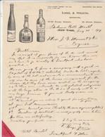 Etats Unis Facture Lettre Illustrée Grand Marnier Haut Sauterne Oppenheim 21/8/1907 LOBEL & STRAUSS NEW YORK - Etats-Unis