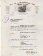 Etats Unis Facture Lettre Illustrée 21/9/1940 PICKER LINZ Importers Wines & Lquors , Whisky, Champagne Perinet NEW YORK - Etats-Unis