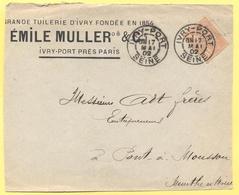FRANCIA - France - 1902 - 15c Mouchon - Big Fragment - Emile Muller & C. - Viaggiata Da Ivry-Port Per Pont-à-Mousson - 1900-02 Mouchon