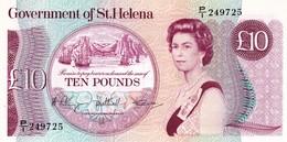 """Saint Helena Island 10 Pounds ND 1985 UNC P-8b """"free Shipping Via Registered Air Mail"""" - Saint Helena Island"""