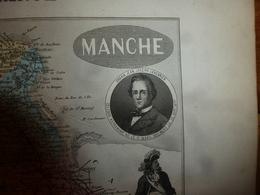 1880 MANCHE  (St-Lo, Avranches,Cherbourg,Coutances,Mortain,Valognes,etc) Carte Géo-Descriptive: Edit Migeon,géograph - Geographische Kaarten