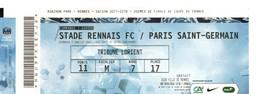 Billet Gratuit Match Foot, Stade Rennais, PARIS SAINT-GERMAIN, Tribune LORIENT, De 2018, Porte 11 E.M R.7 P 17 - Football