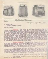Etats Unis Lettre Illustrée 6/8/1912 THE WALDORF ASTORIA Hôtel NEW YORK - Etats-Unis