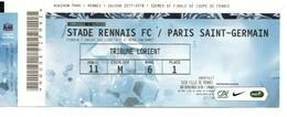 Billet Gratuit Match Foot, Stade Rennais, PARIS SAINT-GERMAIN, Tribune LORIENT, De 2018, Porte 11 E.M R.6 P 1 - Football