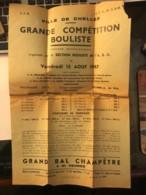 Affiche Publicitaire De Compétition Bouliste à Chelles En 1947 - Petanque Boules - Affiches