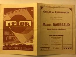 Dépliant Publicitaire Des Cycles Et Automobiles Marcel Barbeaud à Saint Denis D'Oleron - Advertising