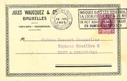 379/28 -- Carte Relevé De Factures TP FISCAL + Houyoux BRUXELLES 1925 - Jules Waucquez , VERVIERS Et ROOSENDAAL - 1922-1927 Houyoux