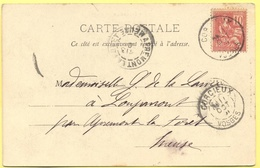 FRANCIA - France - 1901 - 10c Mouchon - 88 Vosges - Gérardmer - Le Lac De Gérardmer - Viaggiata Da Corcieux Per Apremont - 1900-02 Mouchon