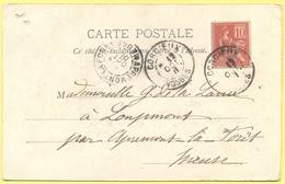 FRANCIA - France - 1901 - 10c Mouchon - 88 Vosges - Corcieux - L'Eglise - Viaggiata Da Corcieux Per Apremont-la-Forêt - 1900-02 Mouchon