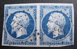 R1680/393 - NAPOLEON III (PAIRE) N°14Ab Bleu Foncé - GC 222 : AZILLE (Aude) ➤➤ INDICE 7 - VARIETE ☛ Fond étoilé - 1853-1860 Napoleon III