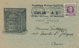 384/28 -- Carte Illustrée TP Houyoux Bruxelles 1923 - Poeles GODIN , Familistère De GUISE - Colin § Cie - 1922-1927 Houyoux