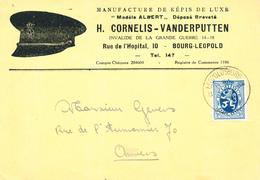 """386/28 -- Carte Illustrée TP Lion Héraldique LEOPOLDSBURG 1933 - Képis De Luxe """"Modèle Albert"""" Cornelis-Vanderputten - 1929-1937 Lion Héraldique"""
