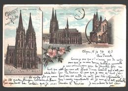 Köln - Postkarte 1894 - Gruss Aus Köln - Dom, Südseite / Westseite - St. Martinskirche - Litho - Single Back - 1894 - Koeln