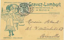 390/28 -- BELGIQUE ECLAIRAGE - SUPERBE Carte Illustrée Appareils D' Eclairage Et Sanitaires Gravez-Lambert MONS 1911 - Timbres
