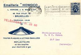 391/28 -- BELGIQUE ECLAIRAGE - Carte Illustrée Réflecteur Pour Electricité Et Gaz Tole Emaillée Howoco BRUXELLES 1931 - Timbres
