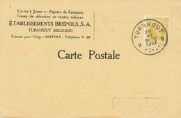 392/28 -- BELGIQUE CARTES A JOUER - Carte Privée Ets Brepols à TURNHOUT TP Houyoux 1927 - Timbres