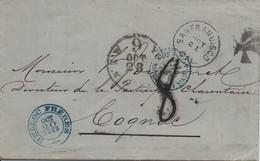 POSTE  MARITIME  -  Pli De San- Francisco Du 19 Octobre 1869 Pour Cognac Via New-York. - 1849-1876: Classic Period