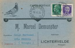 393/28 -- BELGIQUE COLOMBOPHILIE - Carte Illustrée Pigeon TP Italiens 1932 à Fabricant Bagues Demunster LICHTERVELDE - Pigeons & Columbiformes