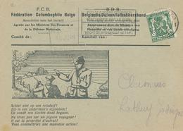 BELGIQUE COLOMBOPHILIE - Carte Illustrée Pigeon Et Chasseurs - Avis D' Arrivée Fédération Colombophile Belge 1938 - Pigeons & Columbiformes
