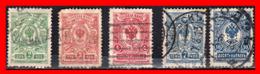 RUSSIA – U.R.S.S.-  5 SELL0S AÑO 1908-1912  ESCUDO NACIONAL. - Usados