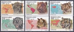 Benin Dahomey 1999 Tiere Fauna Animals Raubkatzen Katzen Cats Leopard Geparden Cheetahs Puma Tiger, Mi. 1192-7 Gest. - Benin - Dahomey (1960-...)