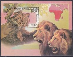 Benin Dahomey 1999 Tiere Fauna Animals Raubkatzen Katzen Cats Löwen Lions León Leone, Bl. 52 Gest. - Benin – Dahomey (1960-...)