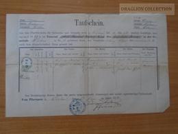 ZA174.4  Old Document -  Moravia  Vyškov  Wischau  1871 -Morava -Czechia - Naissance & Baptême