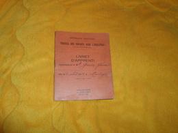 LIVRET D'APPRENTI ANCIEN TRAVAIL DES ENFANTS DANS L'INDUSTRIE DE 1941. / CACHET COMMUNE DE ROUVROY PAS DE CALAIS.. - Vieux Papiers