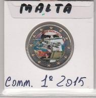 MALTA - 2 EURO COMMEMORATIVO ANNO 2015  - COLORATO COME FOTO -  FDC - IN OBLO' - Malta
