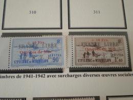 TIMBRE COLONIE FRANCAISE ST PIERRE ET MIQUELON FRANCE LIBRE  N°311A/311B  NEUF Sans CHARNIERE - St.Pierre & Miquelon