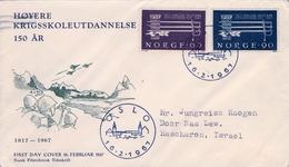 1967 , NORUEGA , YV. 507 / 508 , 50 ANIV. FORMACIÓN MILITAR , SOBRE DE PRIMER DIA CIRCULADO A ISRAEL, LLEGADA - Noruega
