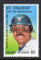 ST VINCENT - 1993 REGGIE JACKSON $2 BASEBALL STAMP O/P SPECIMEN FINE MNH ** SG2426 - St.Vincent (1979-...)