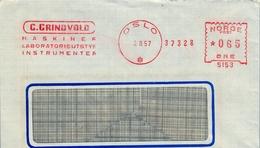 1957 , NORUEGA , FRANQUEO MECÁNICO , OSLO - C. GRINDVOLD , MASKINER LABORATORIEUTSTYR INSTRUMENTER - Cartas