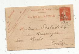 Carte Lettre , 1911 , Entier Postal , ORLEANS , 2 Scans - Entiers Postaux