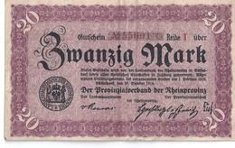 """Billet Allemagne """"provinzialverband Rheinprovinz MARK"""" -deutschland - Collections"""