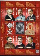 POLAND, 2018, MNH,100 YEARS SINCE POLAND'S REGAINING INDEPENDENCE, MEDALS, RELIGION, HOLOGRAM, SHEETLET OF 9v - History