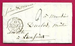 Missive Datée De 1838 - Destinataire Monsieur Duclos Maître De Poste à Lieusaint En Seine Et Marne - Marcophilie (Lettres)