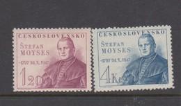 Czechoslovakia Scott 336-337 1947 Stefan Moyses, Mint Never Hinged - Czechoslovakia