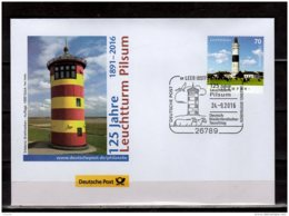 2016 Germany - 125 Years Of Pilsum Lighthouse - Special Cancelation And Cover - 1000 Units Issued - Leuchttürme