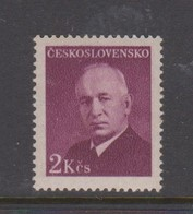 Czechoslovakia Scott 341 1948 Benes 2k Plum, Mint Never Hinged - Unused Stamps