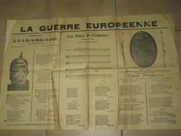 """JOURNAL """"la Guerre Eurpoeenne """" Journal De Chansons Patriotiques Guerre 1914/1918 - Journaux - Quotidiens"""