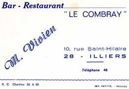 BAR-RESTAURANT LE COMBRAY - 28 ILLIERS - Visiting Cards