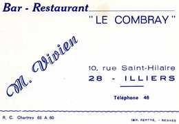 BAR-RESTAURANT LE COMBRAY - 28 ILLIERS - Tarjetas De Visita
