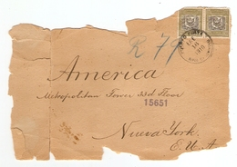 LETTRE 1910 CHARGÉE CHARGE RÉP DOMINICAINE DOMINICAN REP - AMERICAN NUEVA YORK NEW YORK METROPOLITAN TOWER - CACHET CIRE - Dominican Republic