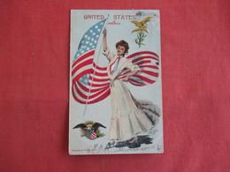 Female With United States  Flag   Ref 3145 - Patriotic