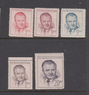 Czechoslovakia Scott 363-366 1948 President Gottwald, 5 Values, Mint Never Hinged - Czechoslovakia